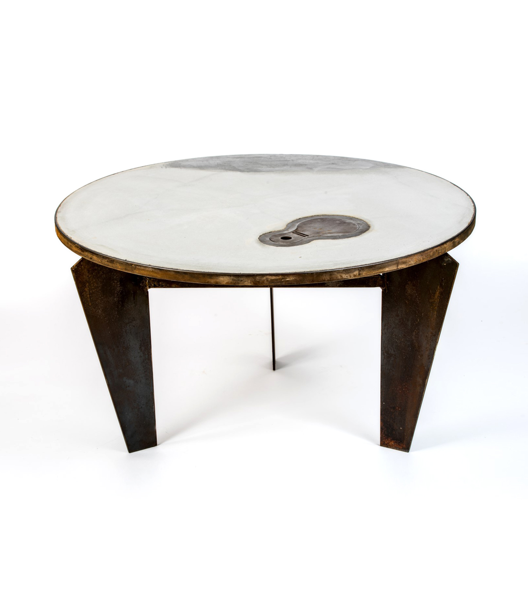 Concrete & steel coffee table 80