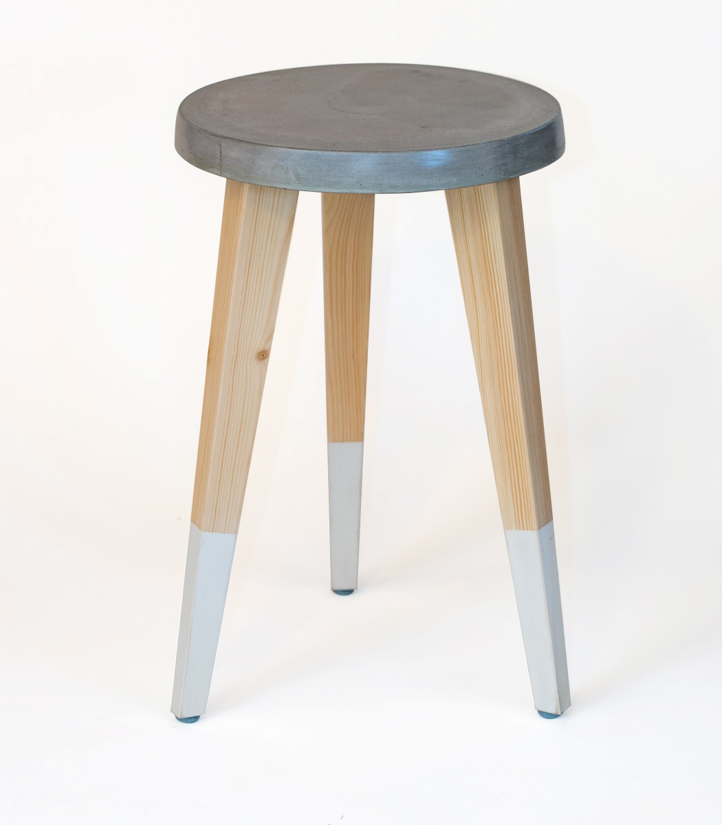 Concrete stool 28 with vinyl white socks