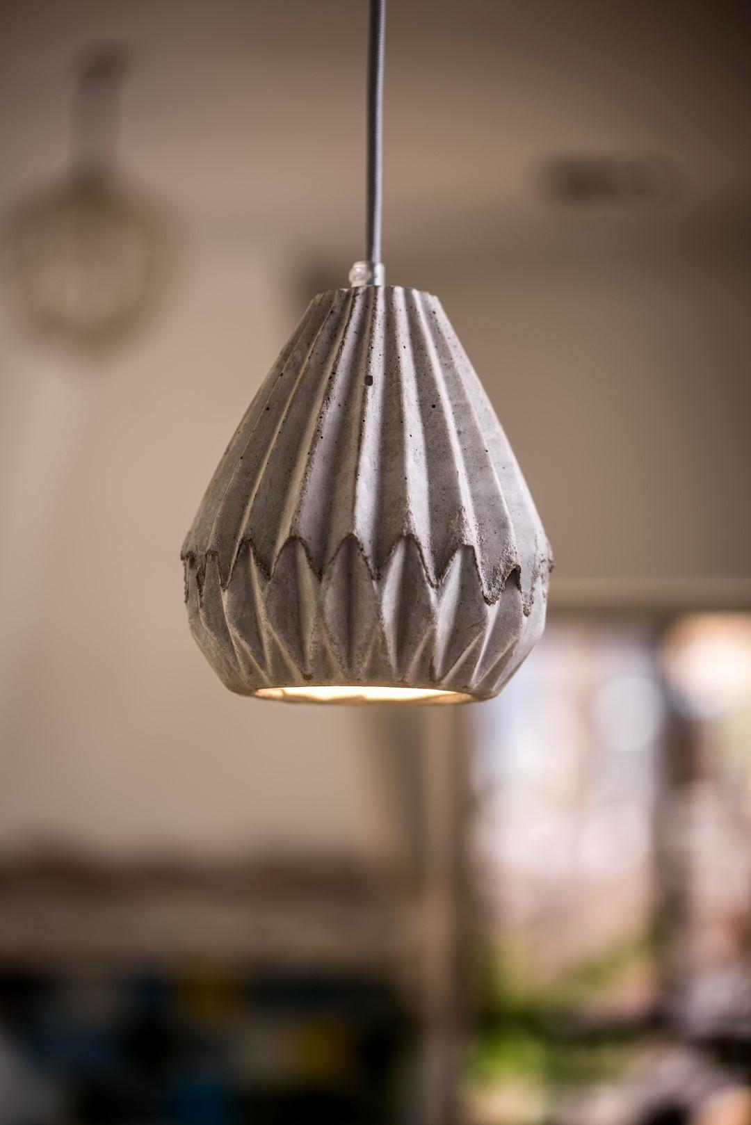 Origami concrete pendant lampshade